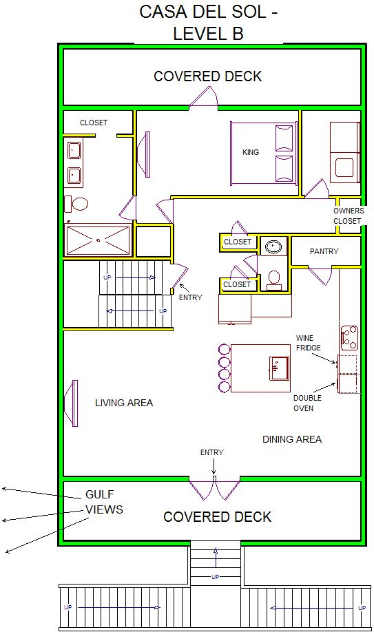 A level B layout view of Sand 'N Sea's beachside with gulf view house vacation rental in Galveston named Casa Del Sol