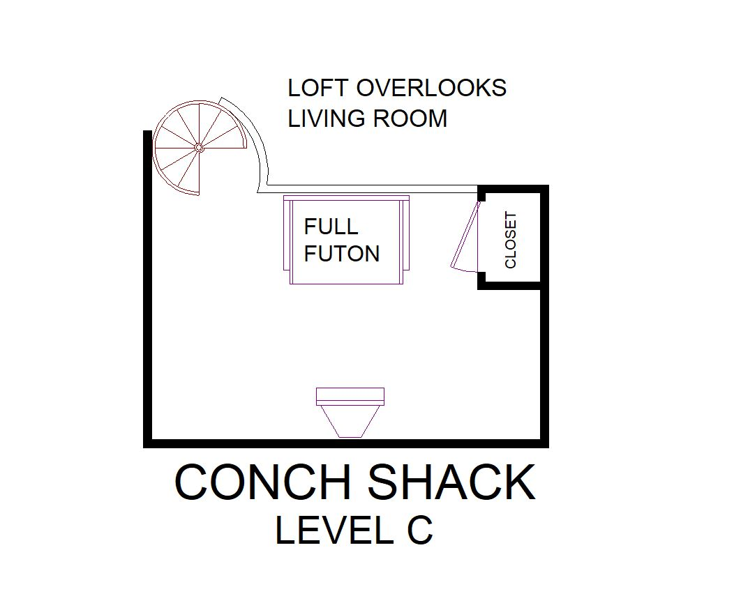 A level C layout view of Sand 'N Sea's beachside house vacation rental in Galveston named Conch House