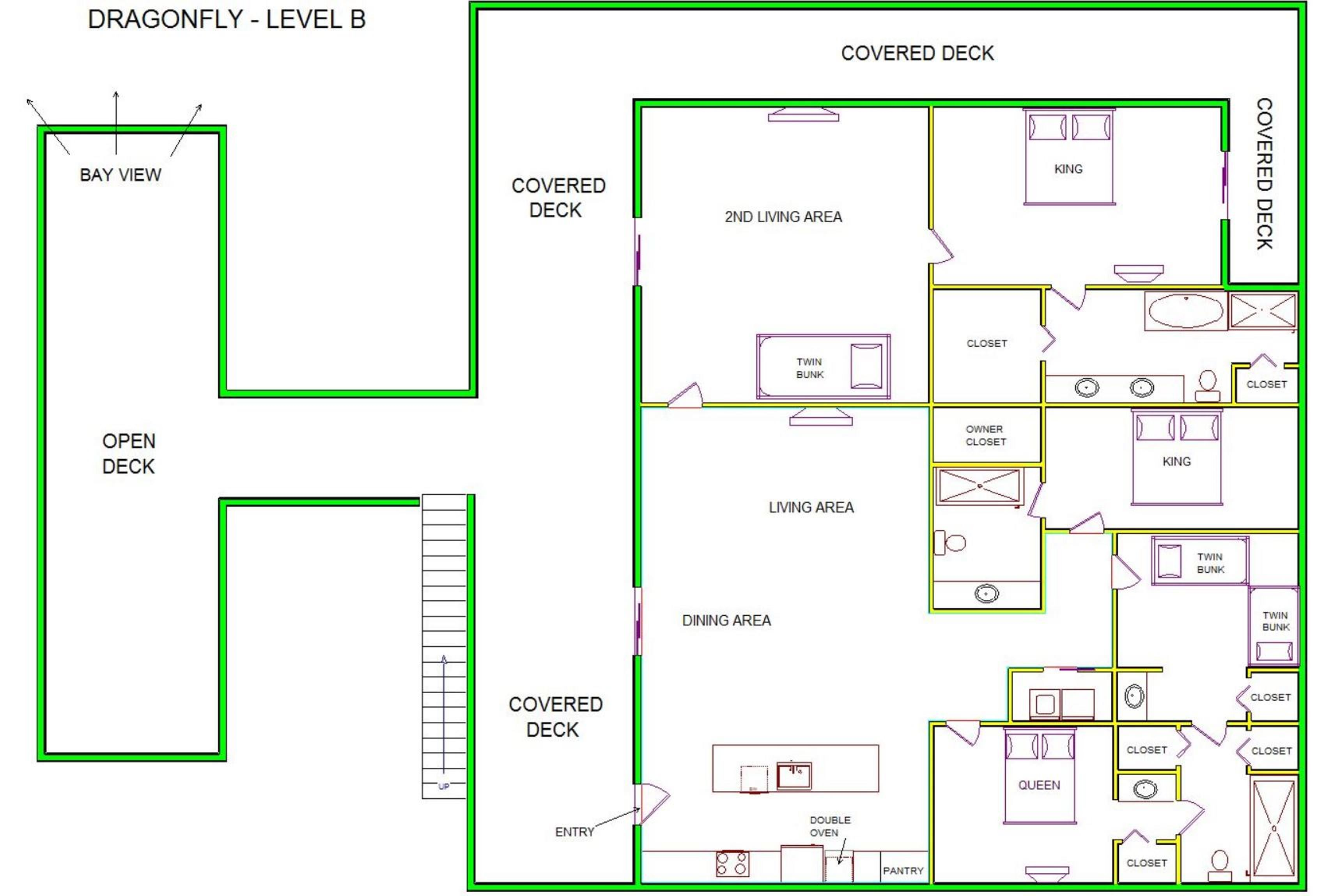 A level B layout view of Sand 'N Sea's canal house vacation rental in Galveston named Dragonfly