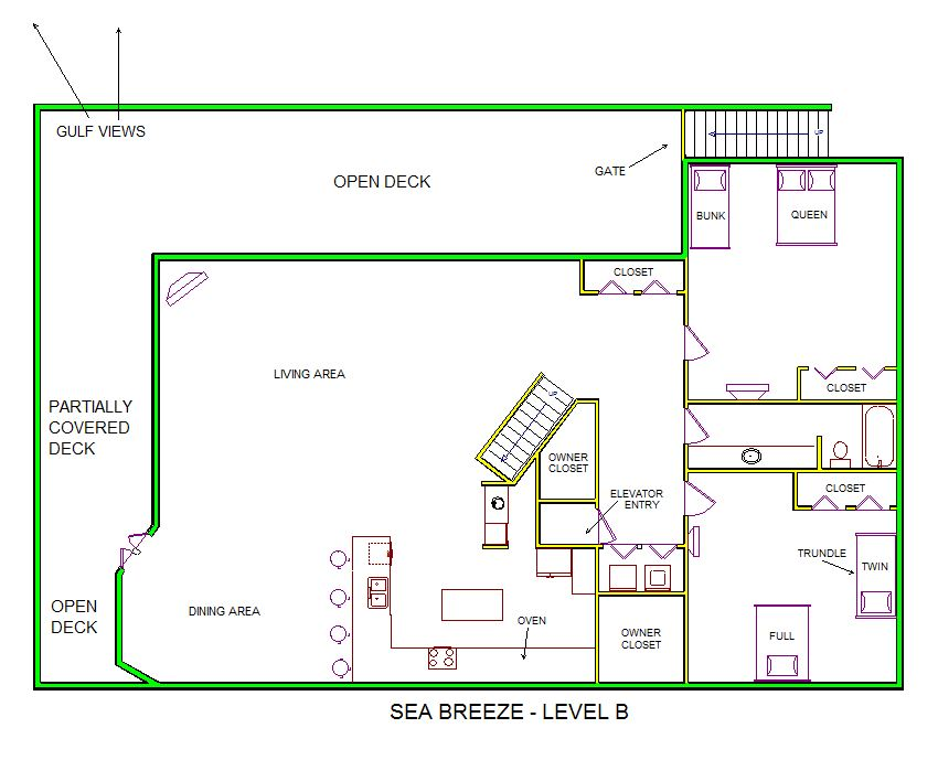 A level B layout view of Sand 'N Sea's beachside house vacation rental in Galveston named Sea Breeze
