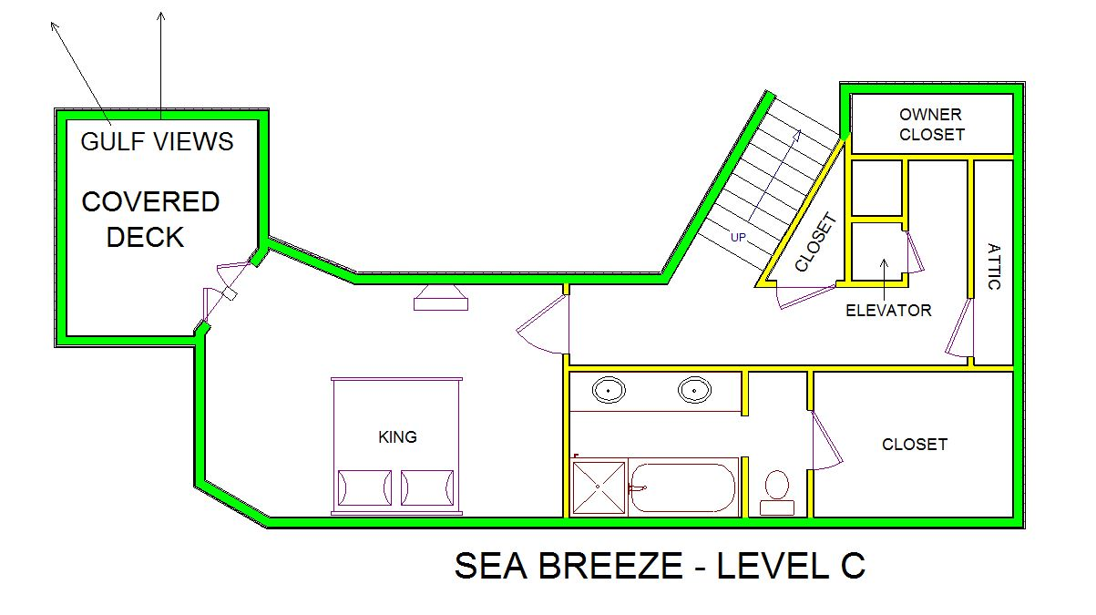 A level C layout view of Sand 'N Sea's beachside house vacation rental in Galveston named Sea Breeze