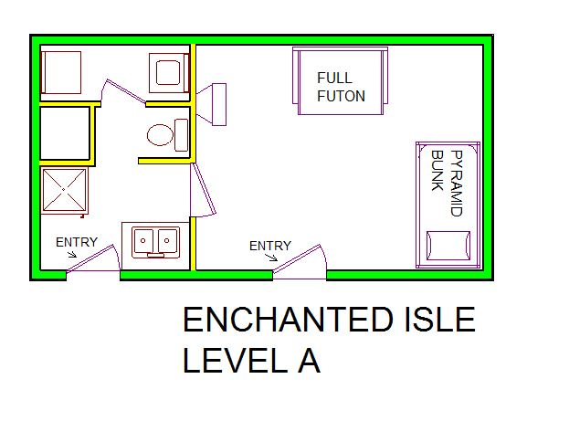 A level A layout view of Sand 'N Sea's beachside with gulf view house vacation rental in Jamaica Beach Galveston named Enchanted Isle