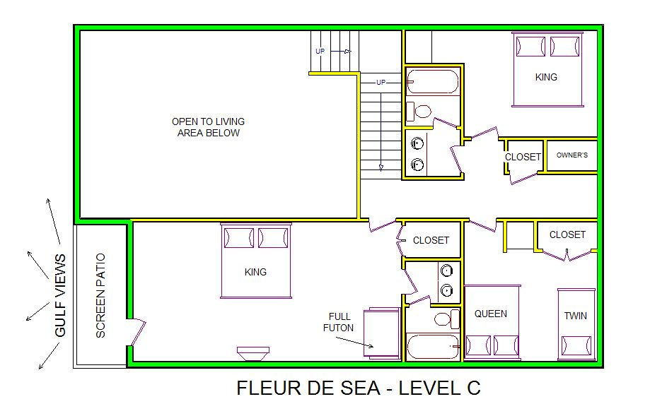 A level C layout view of Sand 'N Sea's beachfront house vacation rental in Galveston named Fleur De Sea