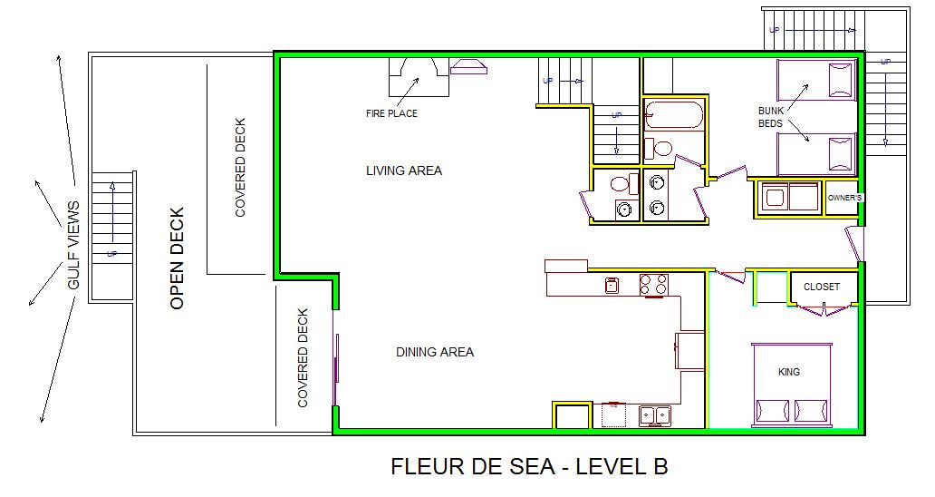 A level B layout view of Sand 'N Sea's beachfront house vacation rental in Galveston named Fleur De Sea