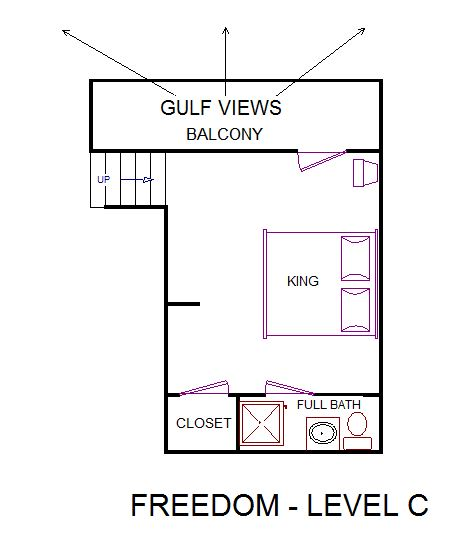 A level C layout view of Sand 'N Sea's beachfront house vacation rental in Jamaica Beach Galveston named Freedom