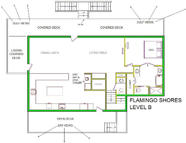 A level B layout view of Sand 'N Sea's beachside with gulf view house vacation rental in Galveston named Flamingo Shores