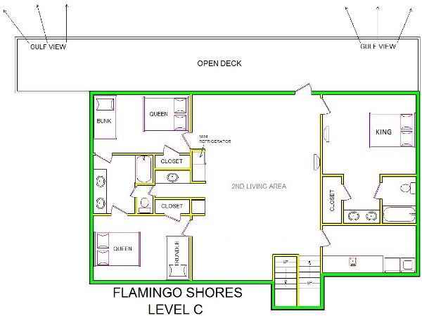 A level C layout view of Sand 'N Sea's beachside with gulf view house vacation rental in Galveston named Flamingo Shores