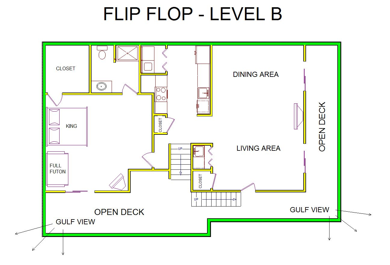 A level B layout view of Sand 'N Sea's beachside house vacation rental in Galveston named Flip Flop