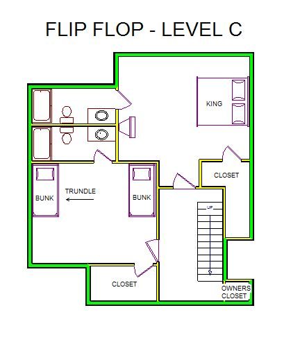 A level C layout view of Sand 'N Sea's beachside house vacation rental in Galveston named Flip Flop