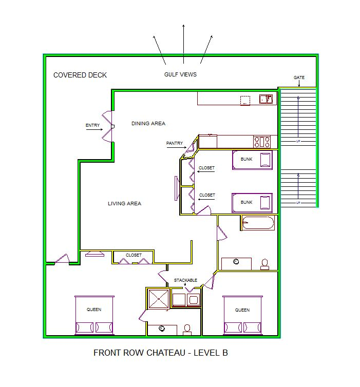 A level B layout view of Sand 'N Sea's beachfront house vacation rental in Galveston named Front Row Chateau