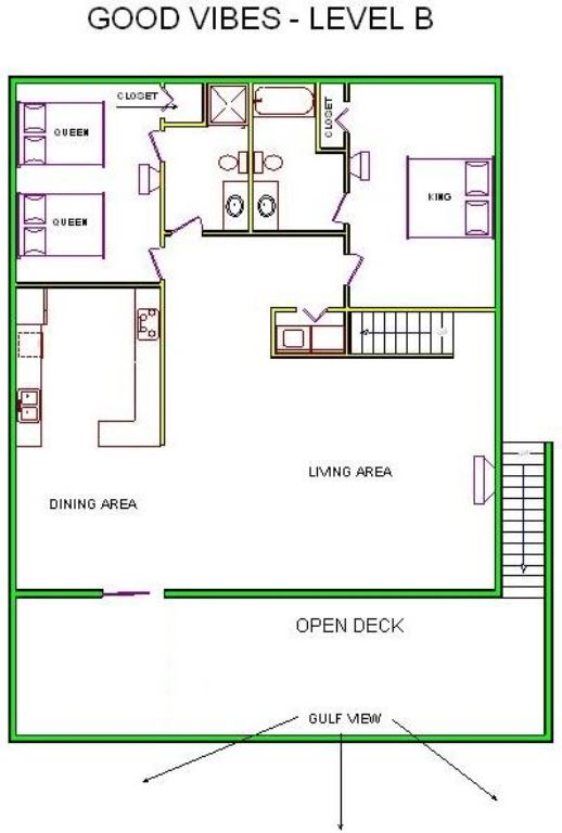 A level B layout view of Sand 'N Sea's beachfront house vacation rental in Galveston named Good Vibes