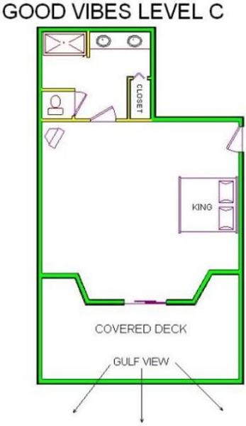 A level C layout view of Sand 'N Sea's beachfront house vacation rental in Galveston named Good Vibes