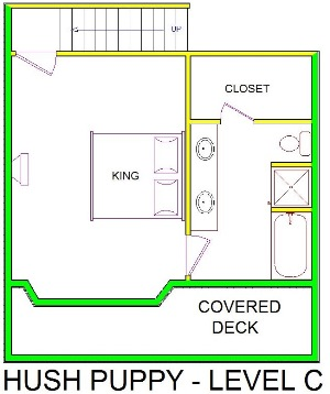 A level C layout view of Sand 'N Sea's beachside house vacation rental in Galveston named Hush Puppy