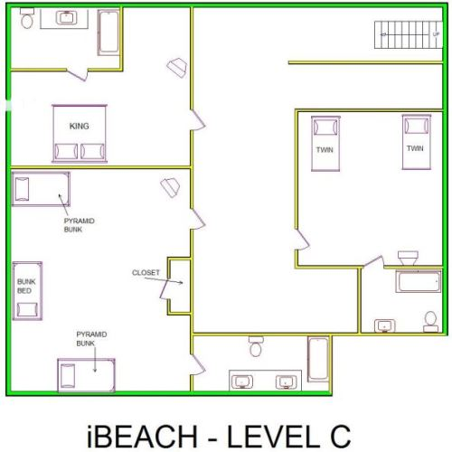 A level C layout view of Sand 'N Sea's beachfront house vacation rental in Galveston named iBeach