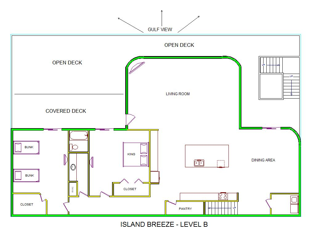 A level B layout view of Sand 'N Sea's beachfront house vacation rental in Galveston named Island Breeze