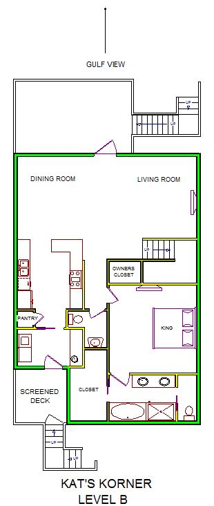 A level B layout view of Sand 'N Sea's beachside house vacation rental in Galveston named Kat's Korner