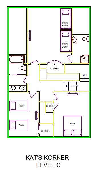 A level C layout view of Sand 'N Sea's beachside house vacation rental in Galveston named Kat's Korner