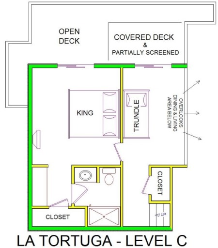A level C layout view of Sand 'N Sea's beachside house vacation rental in Galveston named La Tortuga