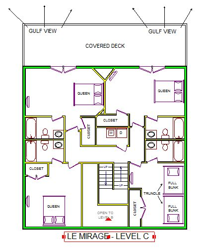 A level C layout view of Sand 'N Sea's beachfront house vacation rental in Galveston named Le Mirage
