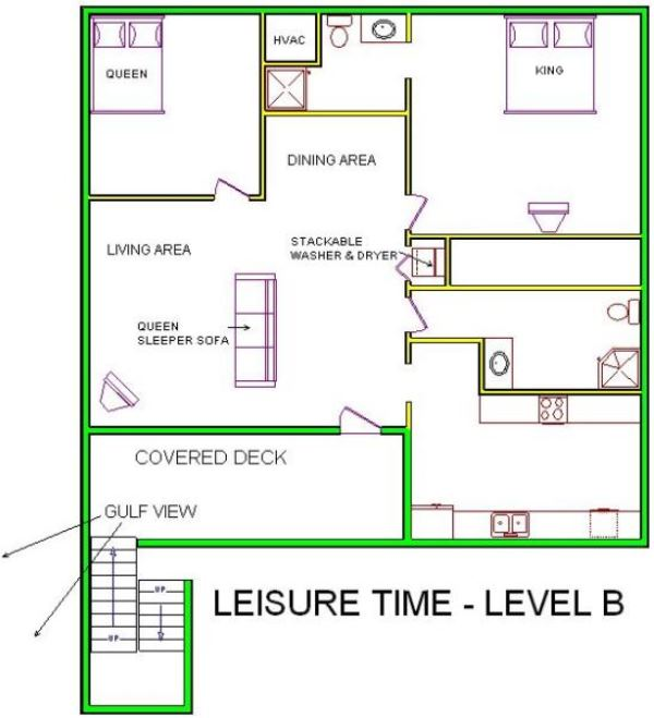 A level B layout view of Sand 'N Sea's beachside with gulf view house vacation rental in Galveston named Leisure Time
