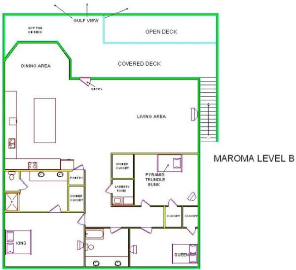 A level B layout view of Sand 'N Sea's beachfront house vacation rental in Galveston named Maroma
