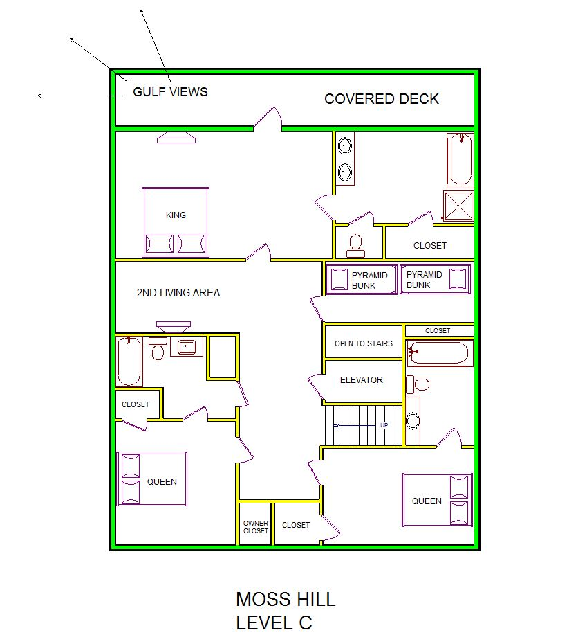A level C layout view of Sand 'N Sea's beachside house vacation rental in Galveston named Moss Hill