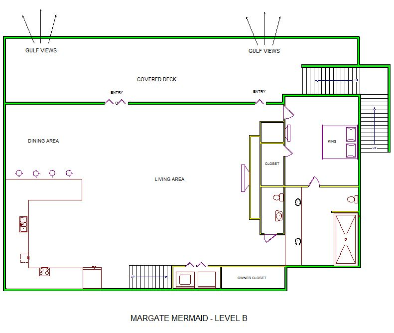 A level B layout view of Sand 'N Sea's beachfront house vacation rental in Galveston named Margate Mermaid