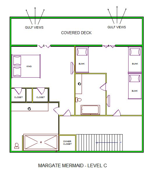 A level C layout view of Sand 'N Sea's beachfront house vacation rental in Galveston named Margate Mermaid