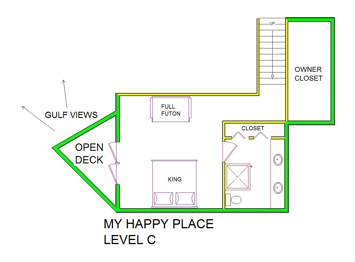 A level C layout view of Sand 'N Sea's beachside with gulf view house vacation rental in Galveston named My Happy Place