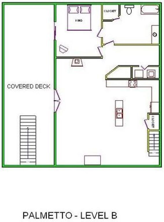 A level B layout view of Sand 'N Sea's beachside with gulf view house vacation rental in Galveston named Palmetto