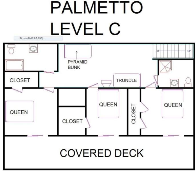 A level C layout view of Sand 'N Sea's beachside with gulf view house vacation rental in Galveston named Palmetto
