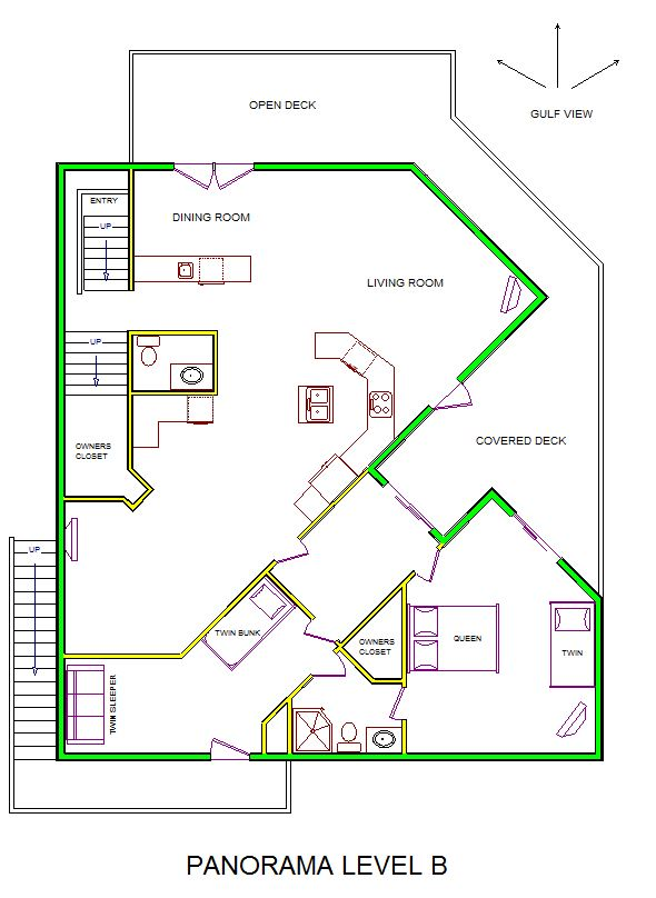 A level B layout view of Sand 'N Sea's beachfront house vacation rental in Galveston named Panorama