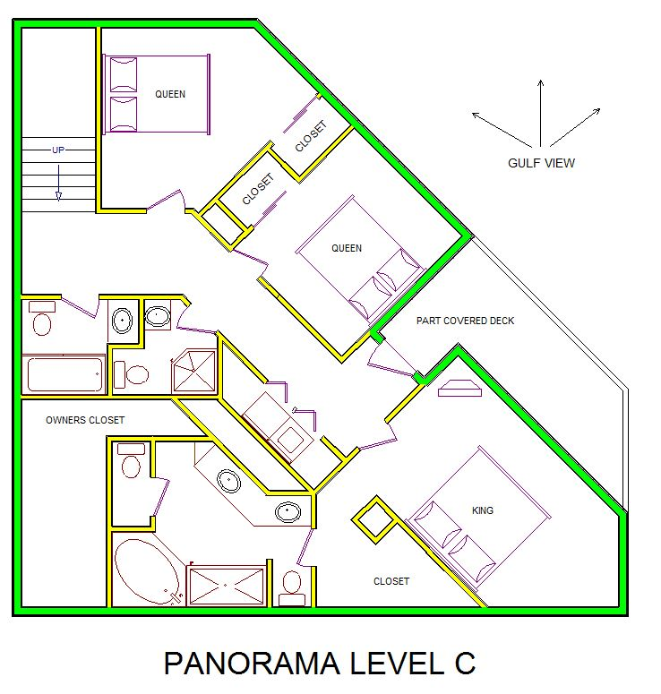 A level C layout view of Sand 'N Sea's beachfront house vacation rental in Galveston named Panorama