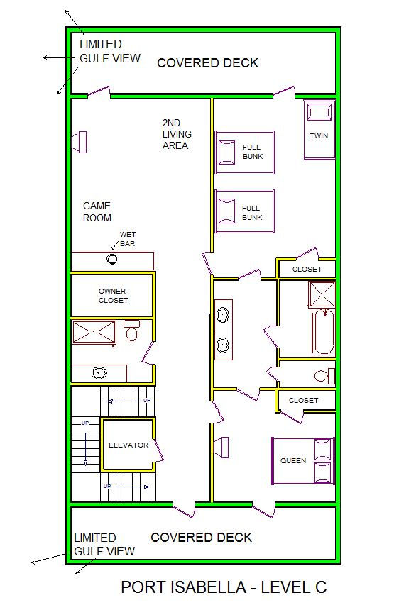 A level C layout view of Sand 'N Sea's beachside house vacation rental in Galveston named Port Isabella