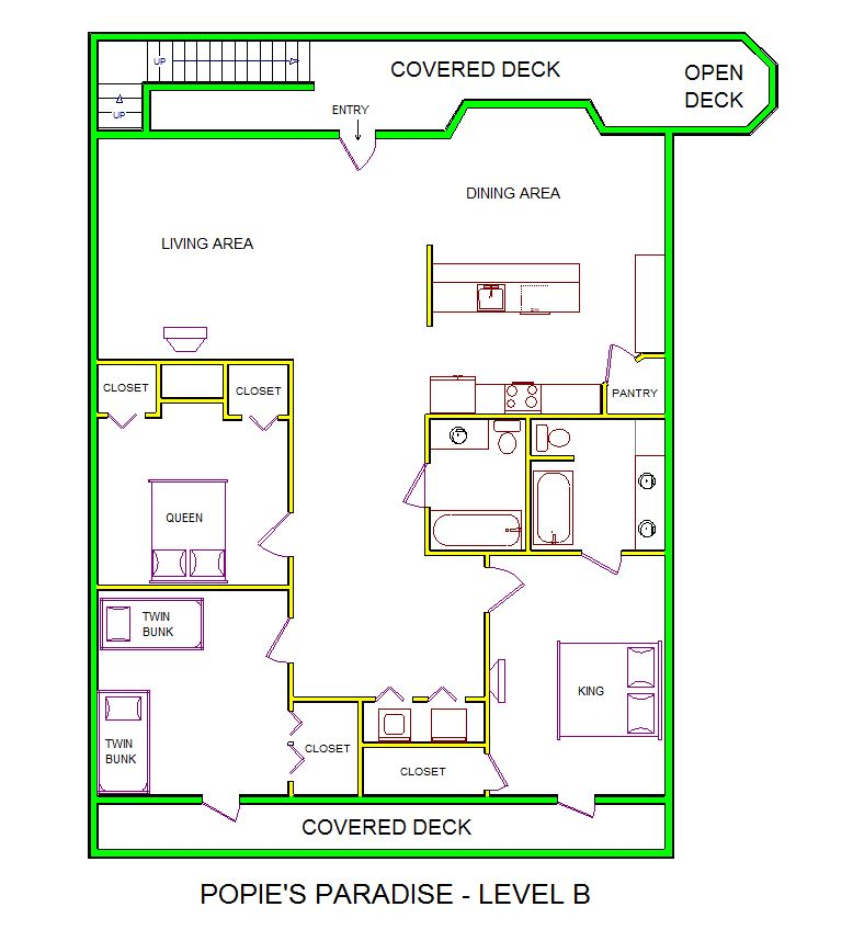 A level B layout view of Sand 'N Sea's beachside house vacation rental in Galveston named Popie's Paradise