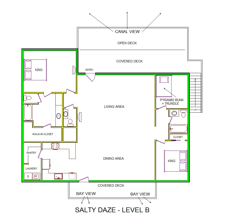 A level B layout view of Sand 'N Sea's canal house vacation rental in Galveston named Salty Daze