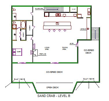 A level B layout view of Sand 'N Sea's beachfront house vacation rental in Galveston named Sand Crab