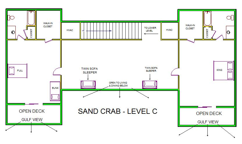 A level C layout view of Sand 'N Sea's beachfront house vacation rental in Galveston named Sand Crab