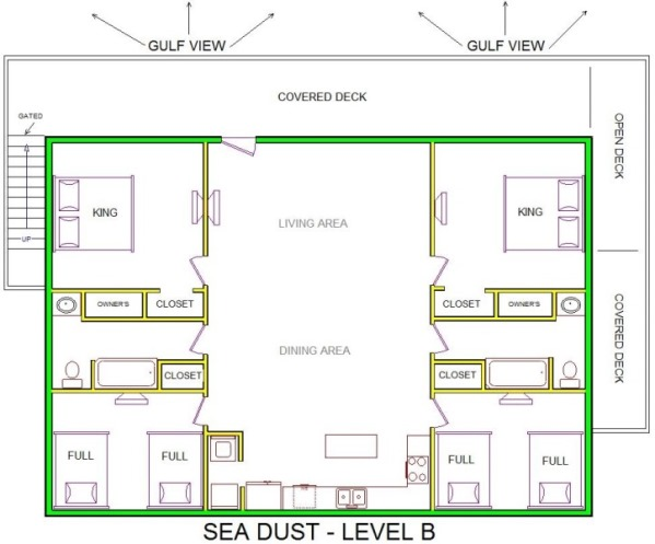 A level B layout view of Sand 'N Sea's beachfront house vacation rental in Galveston named Sea Dust