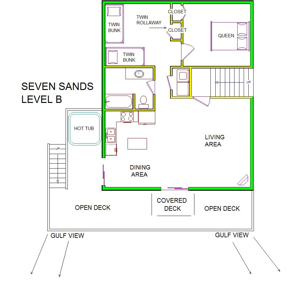 A level B layout view of Sand 'N Sea's beachside with gulf view house vacation rental in Galveston named Seven Sands
