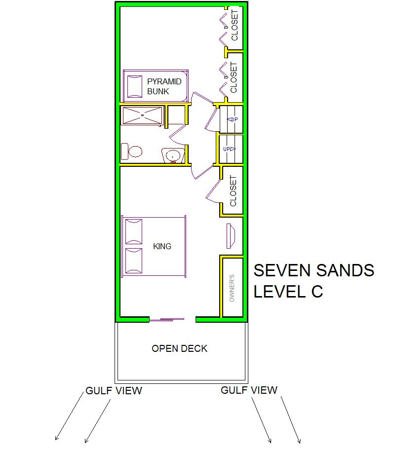 A level C layout view of Sand 'N Sea's beachside with gulf view house vacation rental in Galveston named Seven Sands