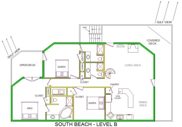 A level B layout view of Sand 'N Sea's beachside house vacation rental in Galveston named South Beach