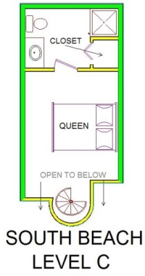 A level C layout view of Sand 'N Sea's beachside house vacation rental in Galveston named South Beach