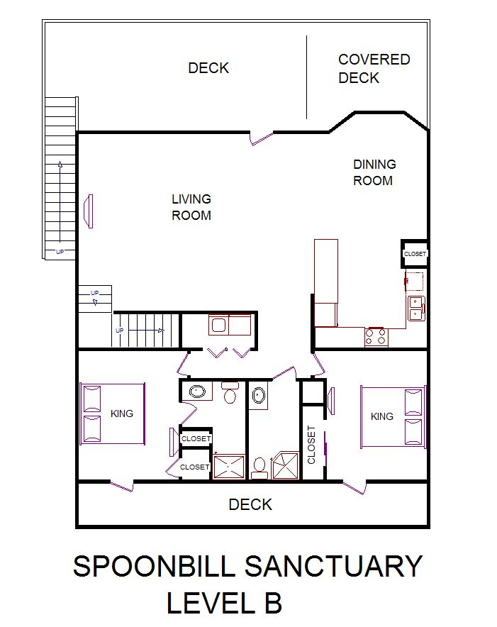 A level B layout view of Sand 'N Sea's beachside house vacation rental in Galveston named Spoonbill Sanctuary