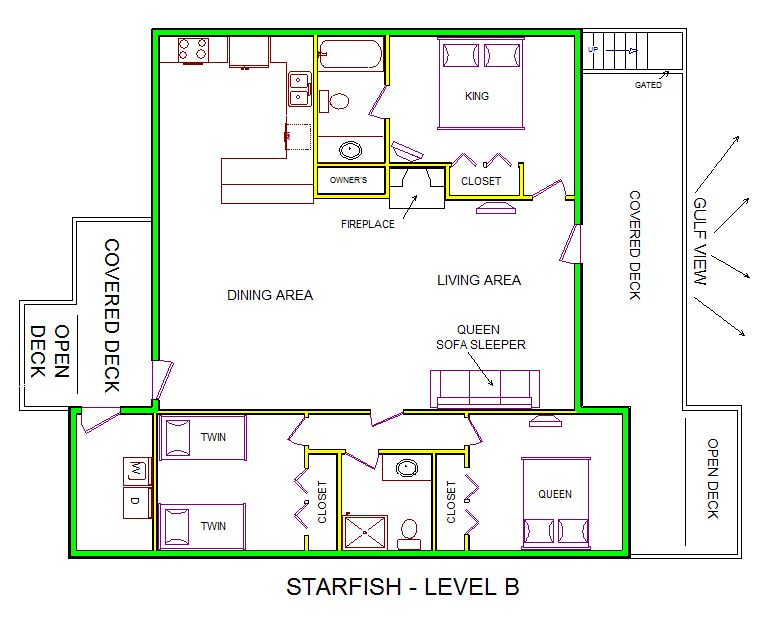 A level B layout view of Sand 'N Sea's beachfront house vacation rental in Galveston named Starfish
