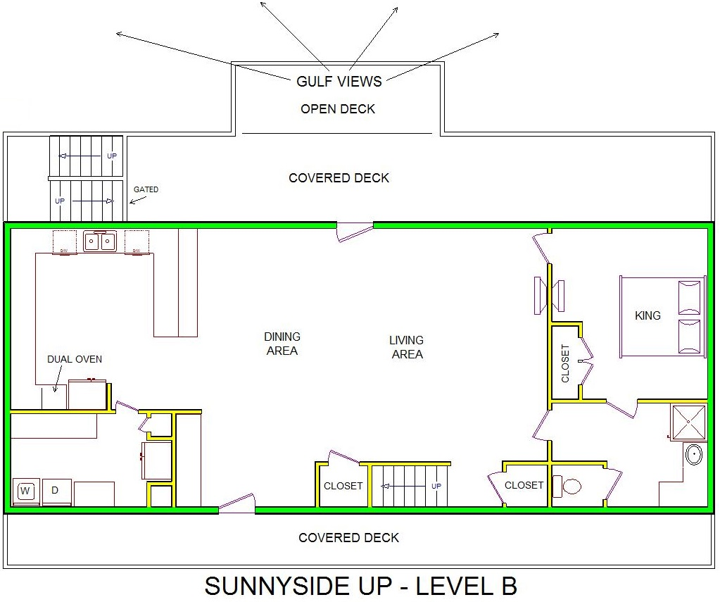 A level B layout view of Sand 'N Sea's beachfront house vacation rental in Galveston named Sunnyside Up