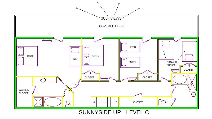 A level C layout view of Sand 'N Sea's beachfront house vacation rental in Galveston named Sunnyside Up