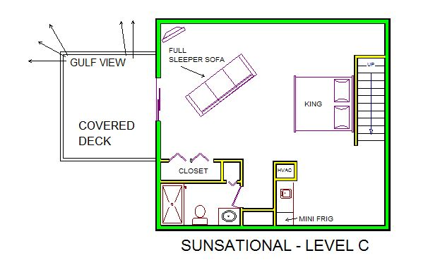 A level C layout view of Sand 'N Sea's beachside with gulf view house vacation rental in Galveston named Sunsational