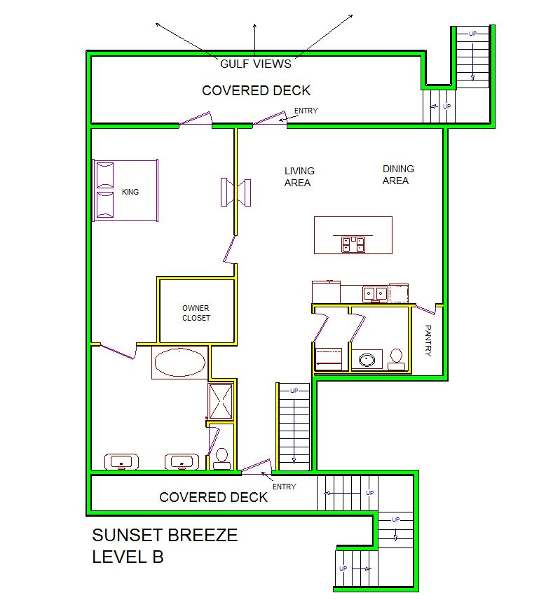 A level B layout view of Sand 'N Sea's beachside house vacation rental in Galveston named Sunset Breeze