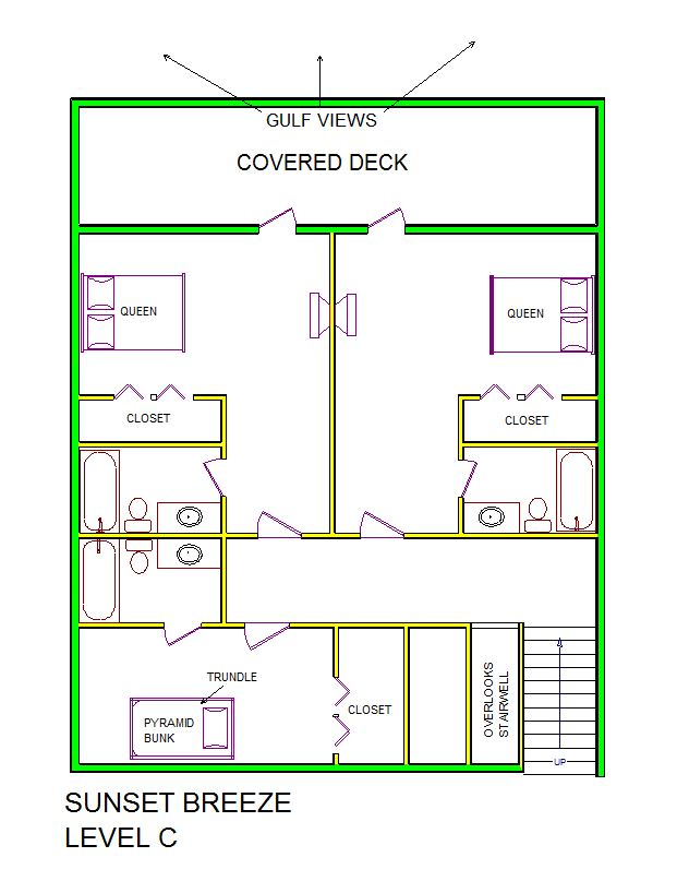 A level C layout view of Sand 'N Sea's beachside house vacation rental in Galveston named Sunset Breeze